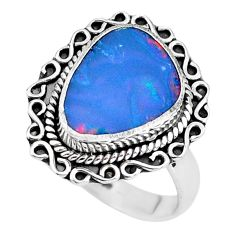 5.38cts natural blue doublet opal australian fancy silver ring size 7.5 p60260