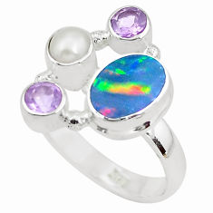 5.38cts natural blue doublet opal australian pearl 925 silver ring size 8 p52561