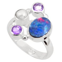5.38cts natural blue doublet opal australian pearl 925 silver ring size 8 p52573