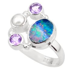 5.53cts natural blue doublet opal australian pearl 925 silver ring size 8 p52578