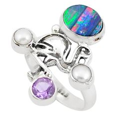 5.18cts natural blue doublet opal australian silver flamingo ring size 8 p50027