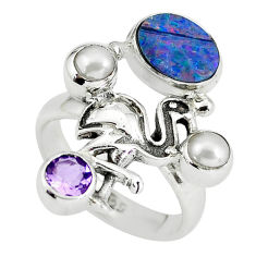 Natural blue doublet opal australian silver flamingo ring size 7.5 p60307