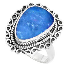 4.94cts natural blue doublet opal australian silver solitaire ring size 8 p47489
