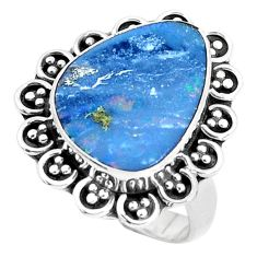 5.75cts natural blue doublet opal australian silver solitaire ring size 7 p47494