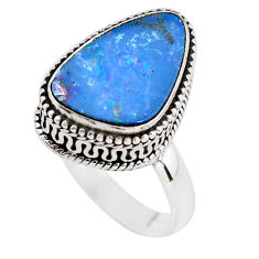 5.18cts natural blue doublet opal australian silver solitaire ring size 8 p56453