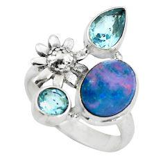 Natural blue doublet opal australian topaz 925 silver flower ring size 8 p61191