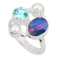 5.97cts natural blue doublet opal australian topaz 925 silver ring size 8 p52566