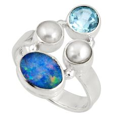 6.02cts natural blue doublet opal australian topaz 925 silver ring size 8 p90750