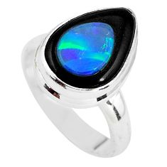 6.10cts natural blue doublet opal in onyx silver solitaire ring size 6.5 p64635