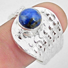 3.26cts natural blue dumortierite 925 silver adjustable ring size 8.5 p57172