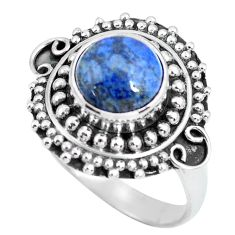 3.36cts natural blue dumortierite 925 silver solitaire ring size 7 p63312