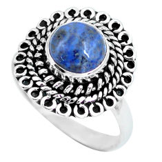 3.50cts natural blue dumortierite 925 silver solitaire ring size 8 p63315