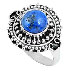 3.18cts natural blue dumortierite 925 silver solitaire ring size 7 p63316