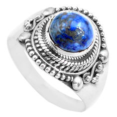 3.16cts natural blue dumortierite 925 silver solitaire ring size 8.5 p71678