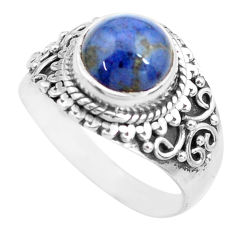 3.19cts natural blue dumortierite 925 silver solitaire ring size 7.5 p71731