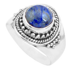 3.01cts natural blue dumortierite 925 silver solitaire ring size 6.5 p71733