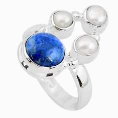5.27cts natural blue dumortierite pearl 925 sterling silver ring size 6.5 p52611