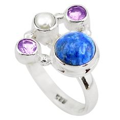 5.79cts natural blue dumortierite pearl 925 sterling silver ring size 8 p52613