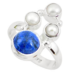 5.79cts natural blue dumortierite pearl 925 sterling silver ring size 7 p52614