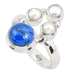 5.52cts natural blue dumortierite pearl 925 sterling silver ring size 7.5 p52620