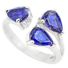 4.24cts natural blue iolite 925 sterling silver adjustable ring size 6.5 p73398