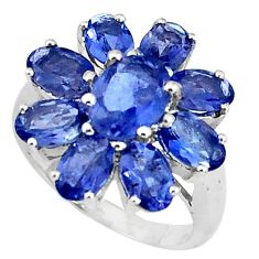 10.01cts natural blue iolite 925 sterling silver ring jewelry size 5.5 p37115