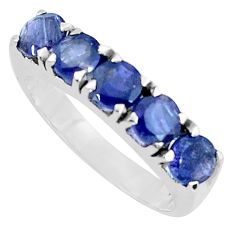 4.84cts natural blue iolite 925 sterling silver ring jewelry size 8.5 p37298