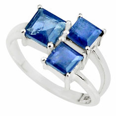 4.06cts natural blue iolite 925 sterling silver ring jewelry size 8.5 p62113