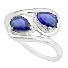 3.32cts natural blue iolite 925 sterling silver ring jewelry size 9.5 p62199