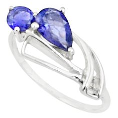 2.40cts natural blue iolite 925 sterling silver ring jewelry size 8 p73177
