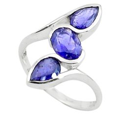 3.51cts natural blue iolite 925 sterling silver ring jewelry size 6.5 p73258