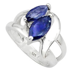 5.63cts natural blue iolite 925 sterling silver ring jewelry size 5.5 p81560