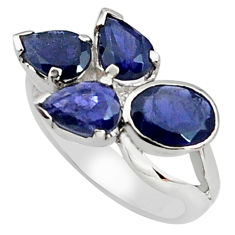7.04cts natural blue iolite 925 sterling silver ring jewelry size 7.5 p81659