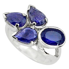 6.56cts natural blue iolite 925 sterling silver ring jewelry size 6.5 p81777