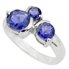 3.29cts natural blue iolite 925 sterling silver ring jewelry size 5.5 p81945