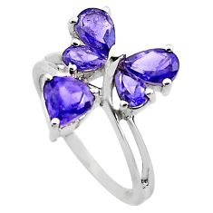 4.24cts natural blue iolite 925 sterling silver ring jewelry size 5.5 p82898