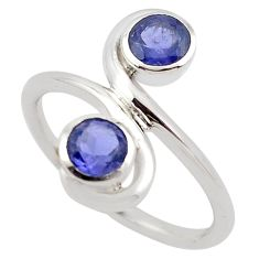 1.91cts natural blue iolite 925 sterling silver ring jewelry size 6.5 p83219