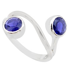 2.93cts natural blue iolite 925 sterling silver ring jewelry size 5.5 p83237