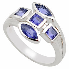 2.44cts natural blue iolite 925 sterling silver ring jewelry size 6.5 p83298