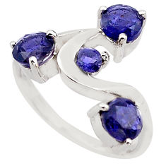 3.29cts natural blue iolite 925 sterling silver ring jewelry size 6.5 p83340