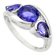 6.04cts natural blue iolite 925 sterling silver ring jewelry size 5.5 p83480