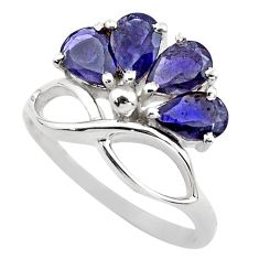 4.53cts natural blue iolite 925 sterling silver ring jewelry size 5.5 p83516