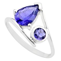 2.48cts natural blue iolite 925 sterling silver ring jewelry size 6.5 p83560