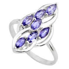 4.24cts natural blue iolite 925 sterling silver ring jewelry size 8 p83659