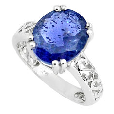 5.06cts natural blue iolite 925 sterling silver solitaire ring size 5.5 p36979