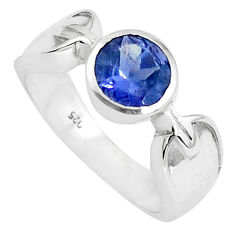 2.69cts natural blue iolite 925 sterling silver solitaire ring size 6.5 p37054