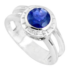 2.54cts natural blue iolite 925 sterling silver solitaire ring size 5.5 p37130