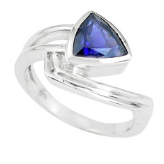 3.46cts natural blue iolite 925 sterling silver solitaire ring size 9 p62270