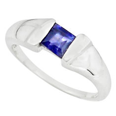 1.01cts natural blue iolite 925 sterling silver solitaire ring size 8.5 p73014