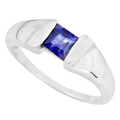 1.00cts natural blue iolite 925 sterling silver solitaire ring size 7.5 p73015